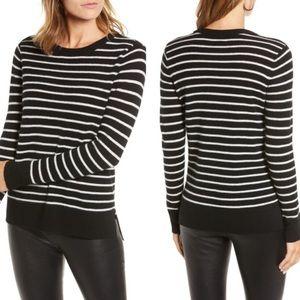 Halogen Cashmere Striped Crewneck Sweater